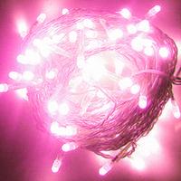 Гирлянда светодиодная на силиконовом проводе 100L розовый цвет