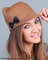 Шляпка с ушками и бантиком (бежевая)