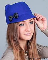 Шляпка с ушками и бантиком (синяя)