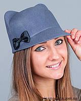 Шляпка с ушками и бантиком (серая)
