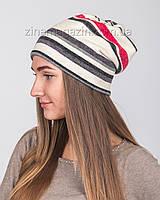Зимняя шапка чулок в полоску