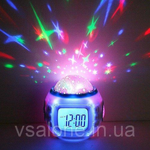 Музыкальные часы будильник с проектором Звездное небо