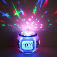 Музыкальные часы будильник с проектором Звездное небо, фото 1