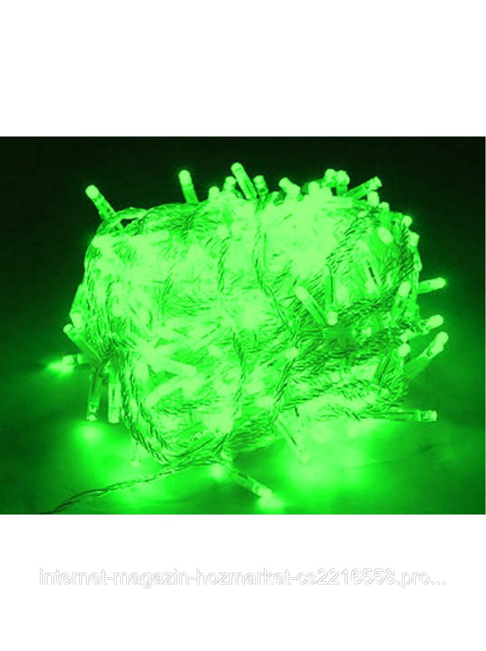Гирлянда светодиодная на силиконовом проводе 500 зеленый цвет