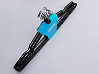 Плечики металлические в силиконовом покрытии  черные , 41 см, 5 штук в упаковке