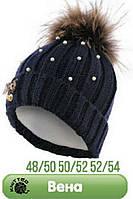 Теплая шапка для девочки с натуральным мехом енота (розовая) р-ры 50-52