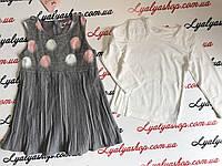 Компплект для девочки. Тёплое платье с кофточкой р-ры 3-8 лет оптом.