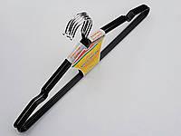 Плечики металлические в силиконовом покрытии черные, 40 см, 5 штук в упаковке