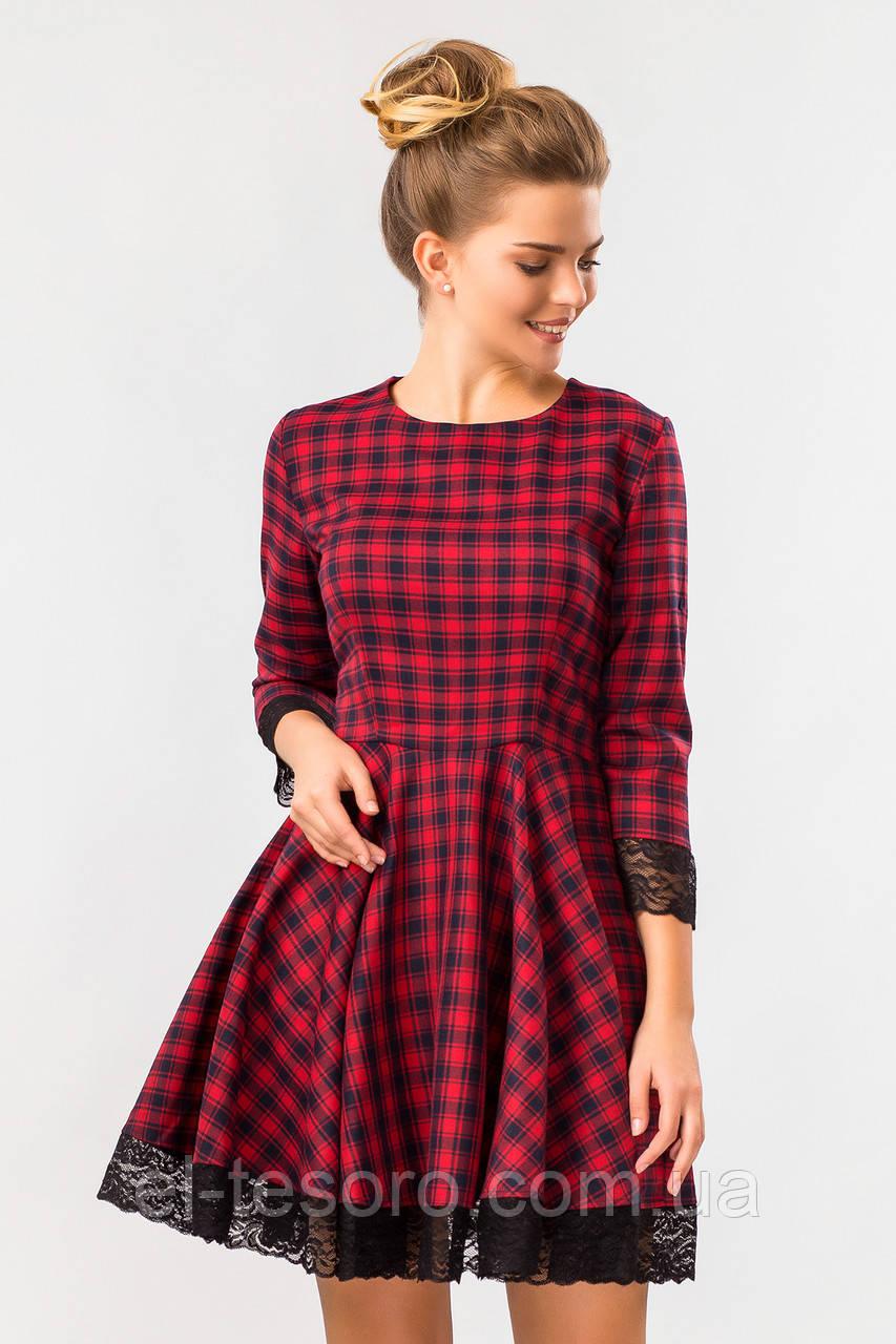 Платье клетка с кружевом