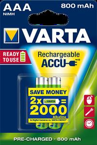 Аккумулятор VARTA RECHARGEABLE ACCU AAA 800mAh BLI 2 NI-MH (READY 2 USE)
