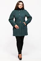 Пальто женское бутылочного цвета длинный рукав  (52-58)