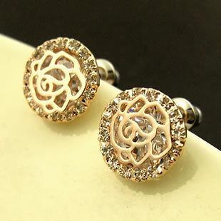 Серьги Chanel ювелирная бижутерия золото 14к кристаллы Swarovski