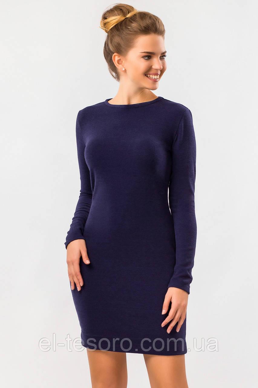 Темно-синее платье из ангоры