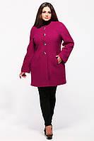 Пальто женское цвета вишни длинный рукав  (52-58)