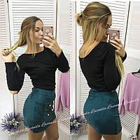 Женская юбка мини внахлест декорированная пуговками