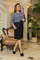 Костюм платье и пиджак, принт гусинная лапка. Большие размеры  6/8488
