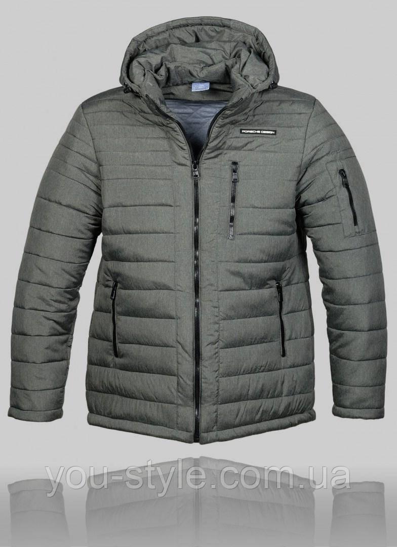32b2b9e09910 Мужская зимняя куртка Porsche 4458 Серая - Интернет магазин