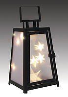 Фонарь декоративный металлический, черный, 14 х 14 х 25 см
