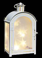 Фонарь декоративный металлический, белый,11 х 7,5 х 20 см