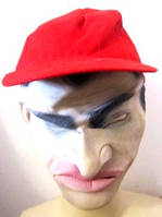 Маска латексная мужская с кепкой