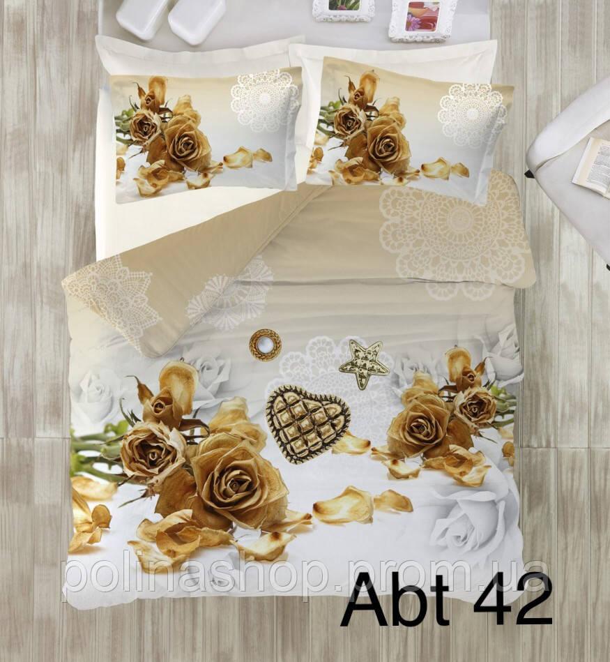 """Комплект постільної білизни ALTINBASAK Сатин 3D """"abt 42!"""" Євро"""