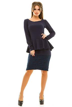 Ж261 Платье с баской креп-дайвинг\гипюр 42,44,46,48, фото 2