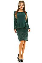 Ж261 Платье с баской креп-дайвинг\гипюр 42,44,46,48, фото 3