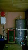 Бивалентная система отопления с тепловым насосом 15кВт и твердотопливным котлом