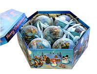 Набор пластиковых шаров в подарочной упаковке Упряжка Деда Мороза 7 шт, 7,5 см.