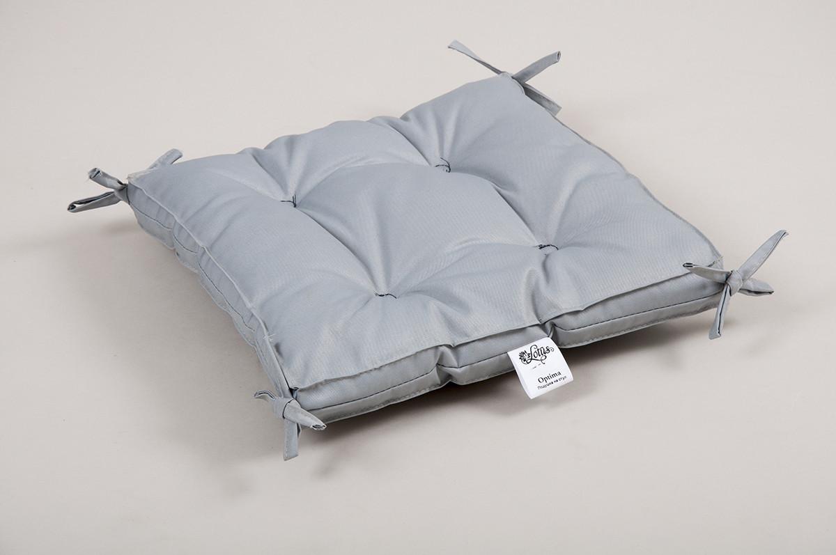 Подушка на стул Lotus 40*40*5 - Optima с завязками серый