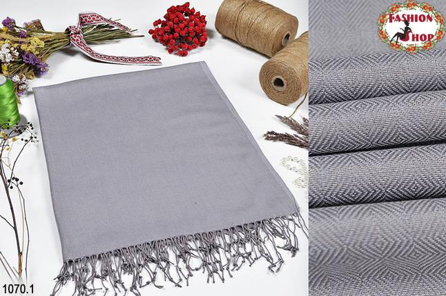 Шерстяной  серый  шарф из пашмины, фото 2