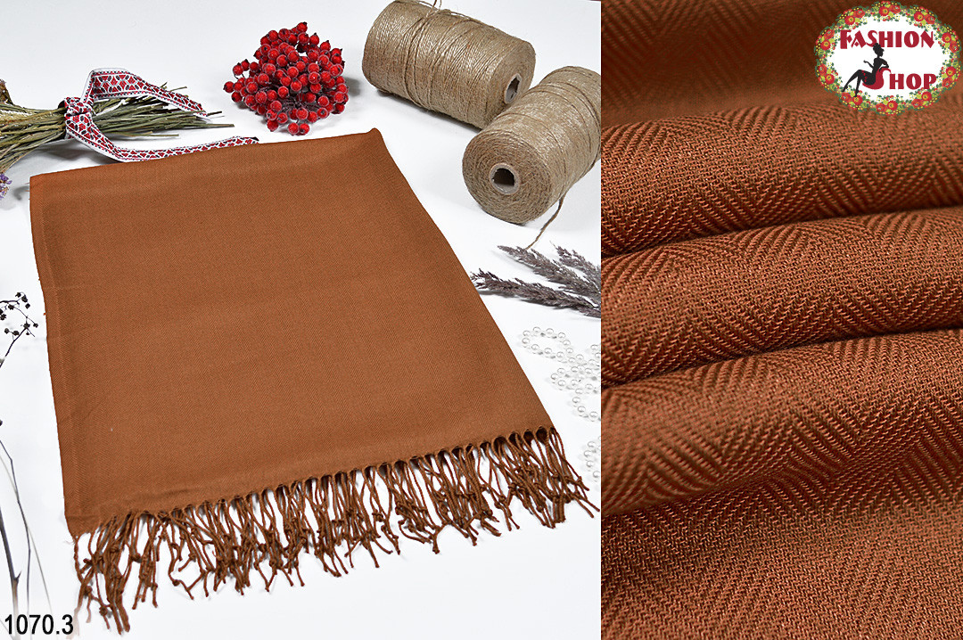 Коричневый мужской стильный шарф из жаккарда