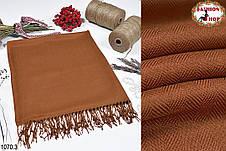 Коричневый мужской шерстяной стильный шарф из пашмины