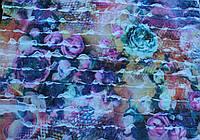 Трикотаж с рюшами цветочки