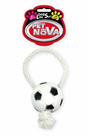 Іграшка для собак футбольний М'яч на мотузці Pet Nova 26 см
