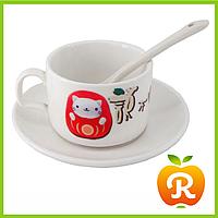 Кофейная чашка с вашим принтом, с ложкой и блюдцем, фото 1