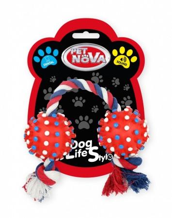 Іграшка для собак Два кулі на мотузці Pet Nova 50 см