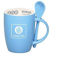 Чашка керамическая с ложкой. Цвет снаружи - голубой. Для нанесения логотипа методом обжиговой деколи, фото 1