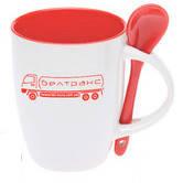 Чашка керамическая с ложкой. Цвет внутри и ложки - красный. Для нанесения логотипа методом обжиговой деколи, фото 1