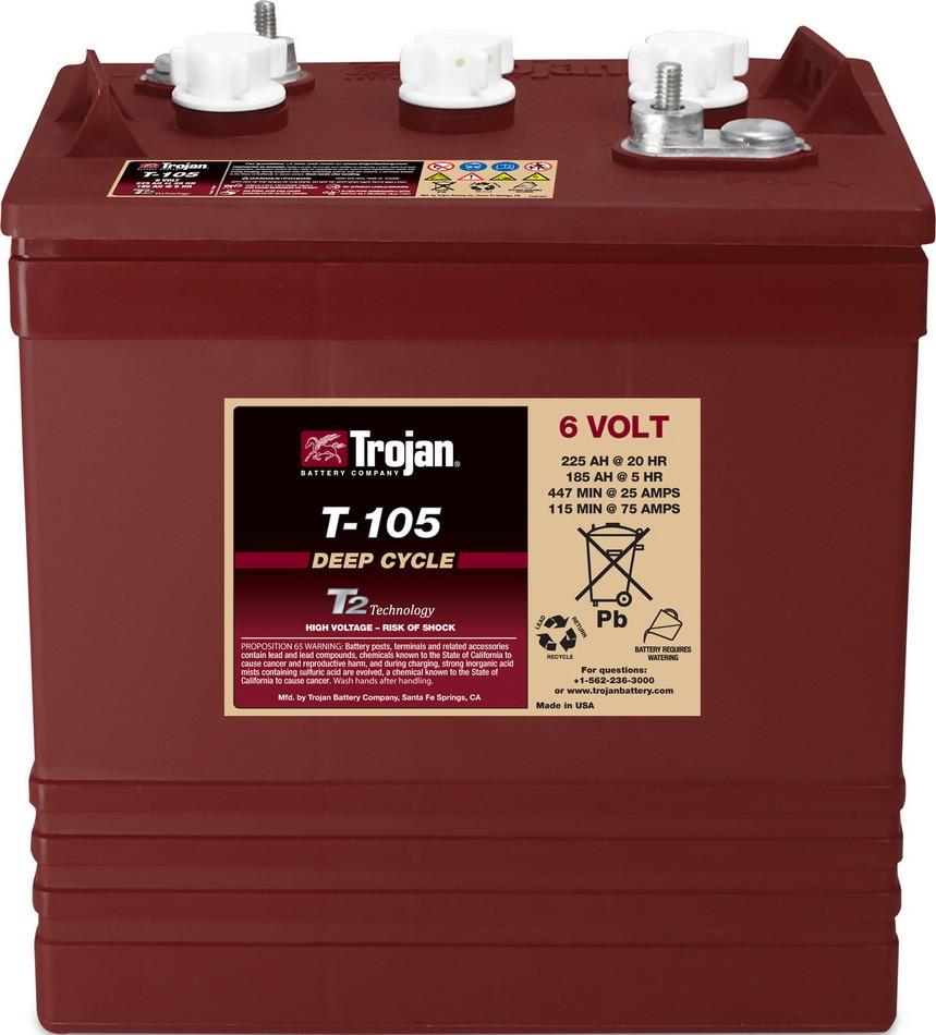 Аккумуляторная батарея TROJAN T-105, 6 Вольт, 225 (185) Ач