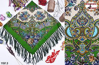 Зелёный павлопосадский шерстяной платок Голубка, фото 3