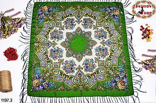 Зелёный павлопосадский шерстяной платок Голубка, фото 2