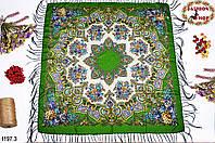 Зелёный павлопосадский шерстяной платок Голубка