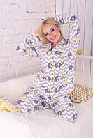 Теплый байковый костюм, пижама натуральный хлопок П304