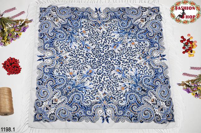 Белый павлопосадский шерстяной платок Лилия, фото 2