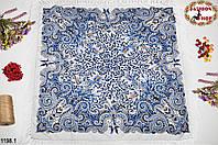 Белый павлопосадский шерстяной платок Лилия
