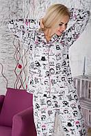 Стильная женская пижама из теплой фланели, костюм для дома П305