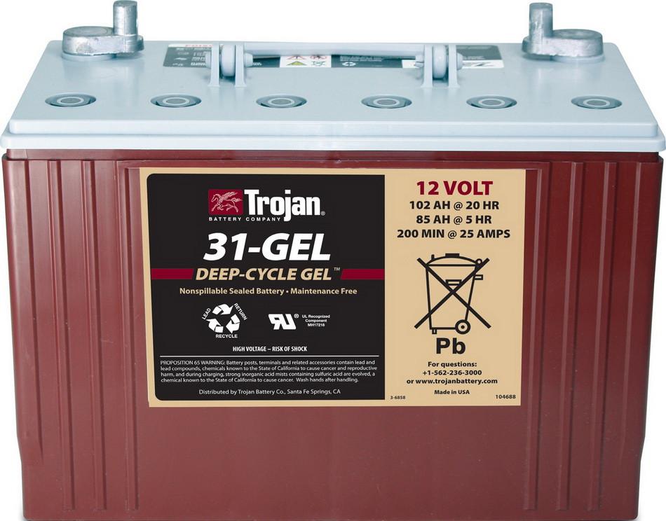 Аккумуляторная батарея TROJAN 31-GEL, 12 Вольт, 102 (85) Ач