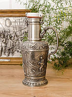 Оловянная фляга, бутылка, пищевое олово, Германия, охота, 1,2 литра, фото 1