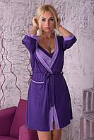 Яркий домашний комплект ночная рубашка+халат, вискоза Кф110н M